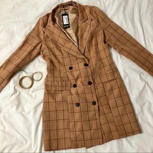 Nasty Gal Blazer Suit Mini Dress Plaid